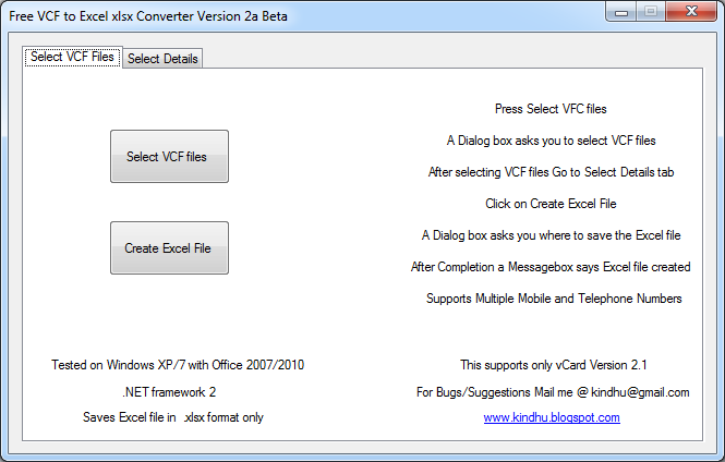 VCF to Excel xlsx Converter Download Free for Windows 10, 7