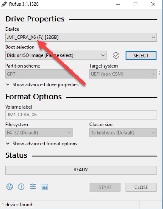 How to make a bootable USB drive using Rufus: select usb drive