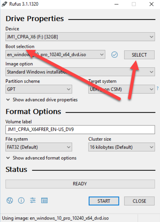 How to make a bootable usb drive with Rufus: Select iso file